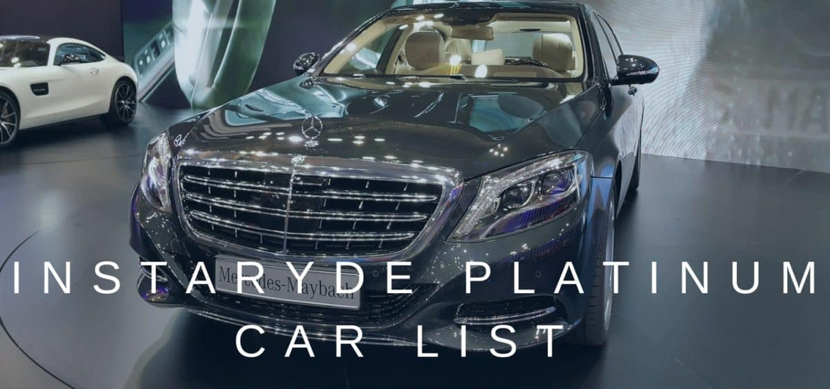 Car Lists: InstaRyde Platinum and Platinum XL Vehicles in Toronto