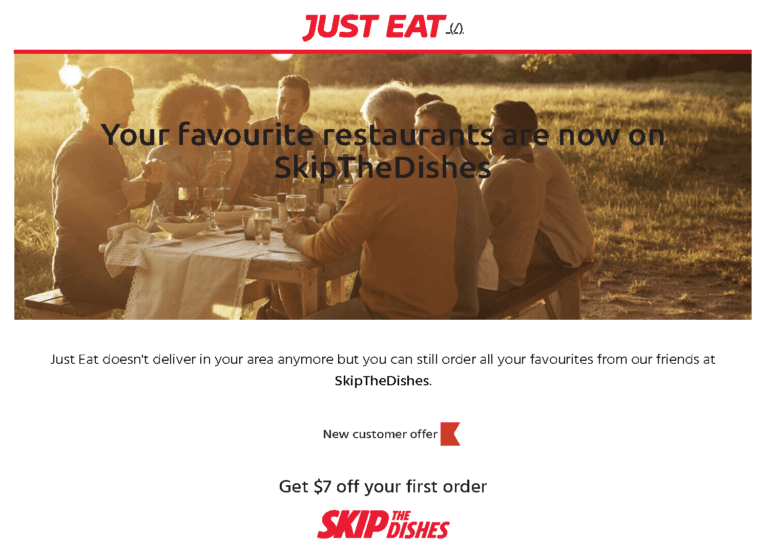 just eat skip the dishes redirect