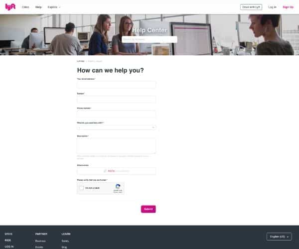 Contact Lyft with a question through the online center