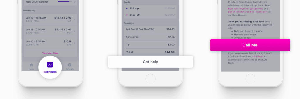 Get help with your earnings, contact Lyft in the app