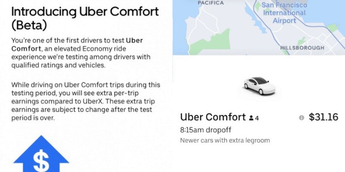 What is new with Uber Comfort