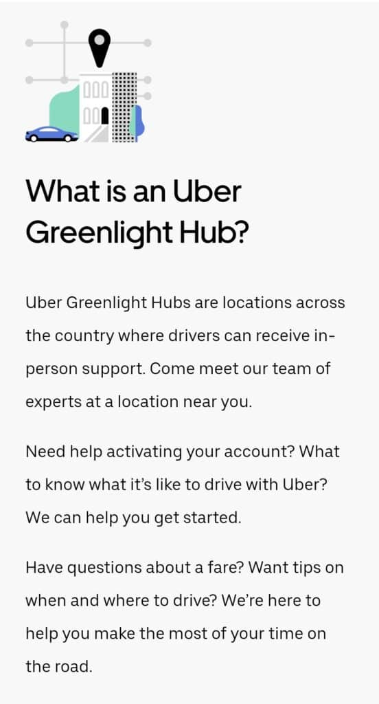Visit an Uber Greenlight Hub for driver support