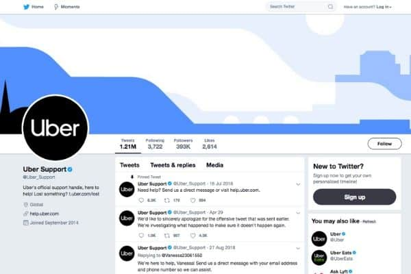 Contact Uber on their Twitter support page