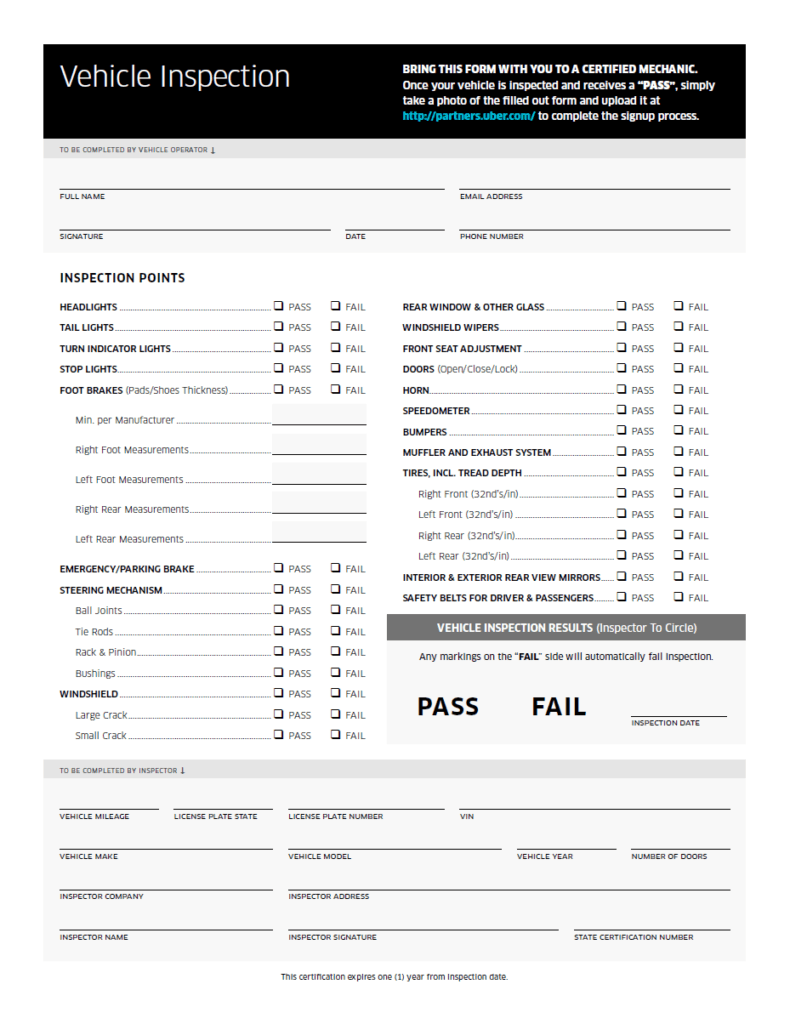 The vehicle inspection sheet is a requirement for the Uber sign up process