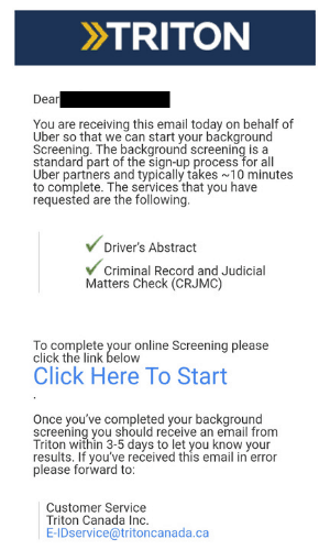 The Uber sign up background check email in Canada