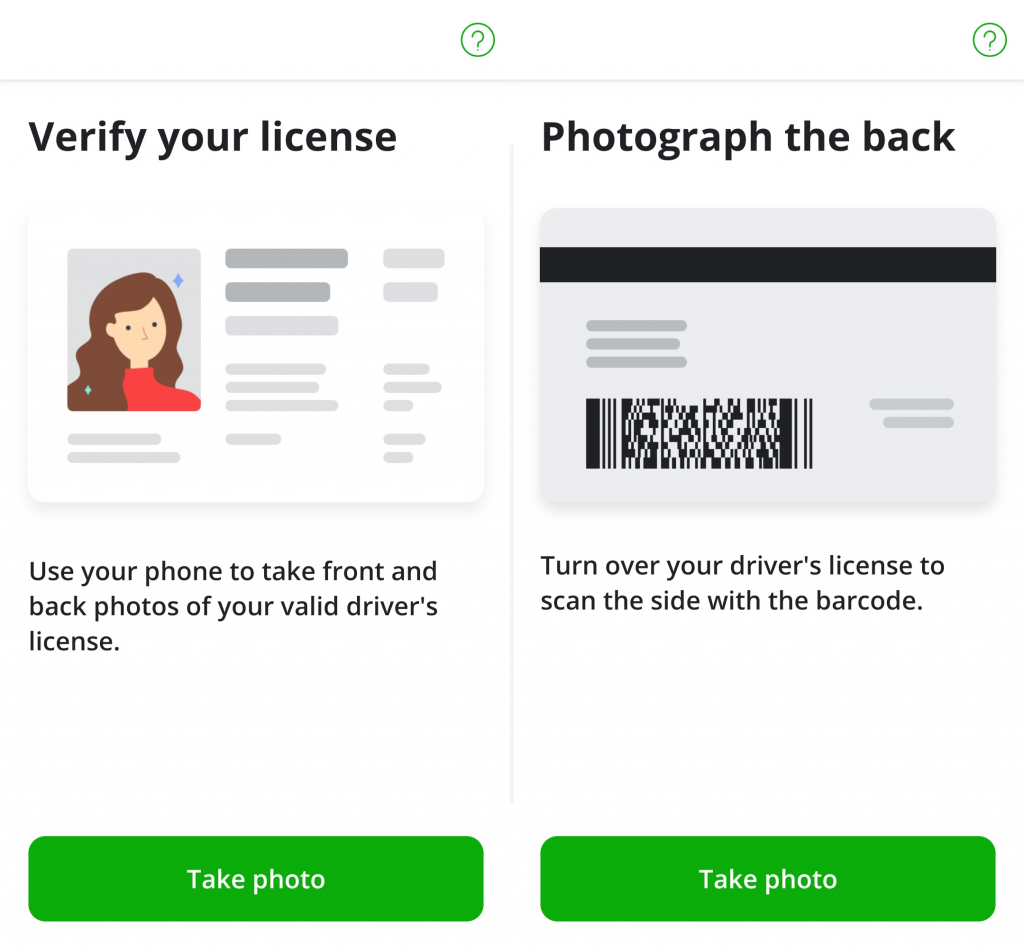 Screenshots of Instacarts drivers license verification in the sign up portion of the app