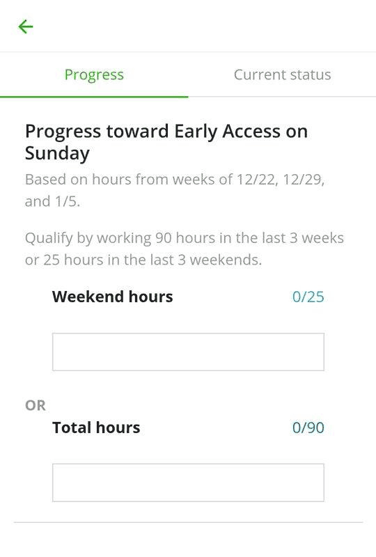 Early access to shift booking screenshot in the Instacart Shopper app