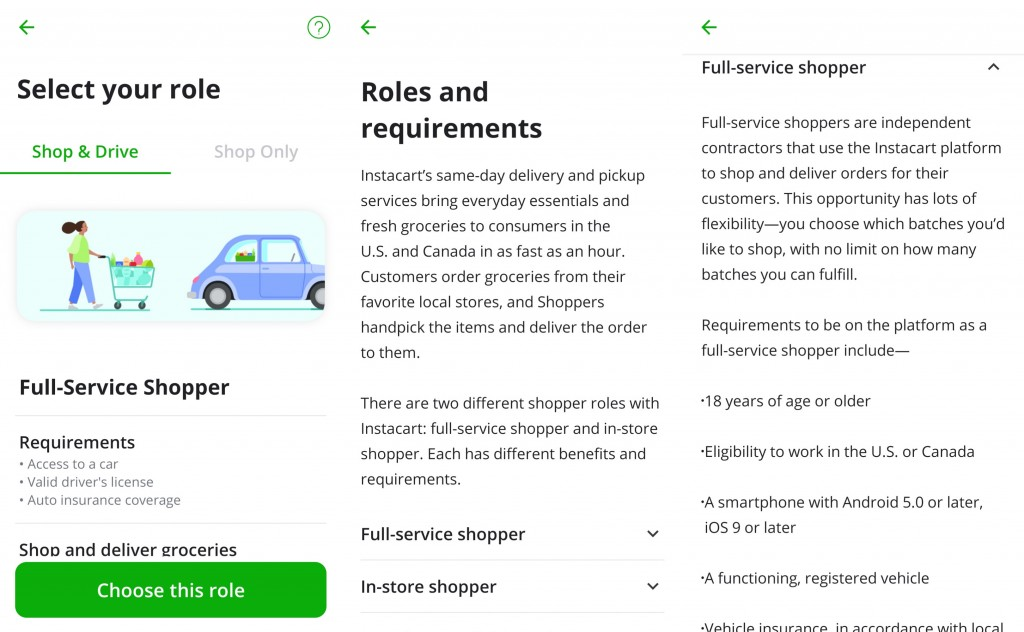 Selecting a role in the Instacart Shopper sign up process