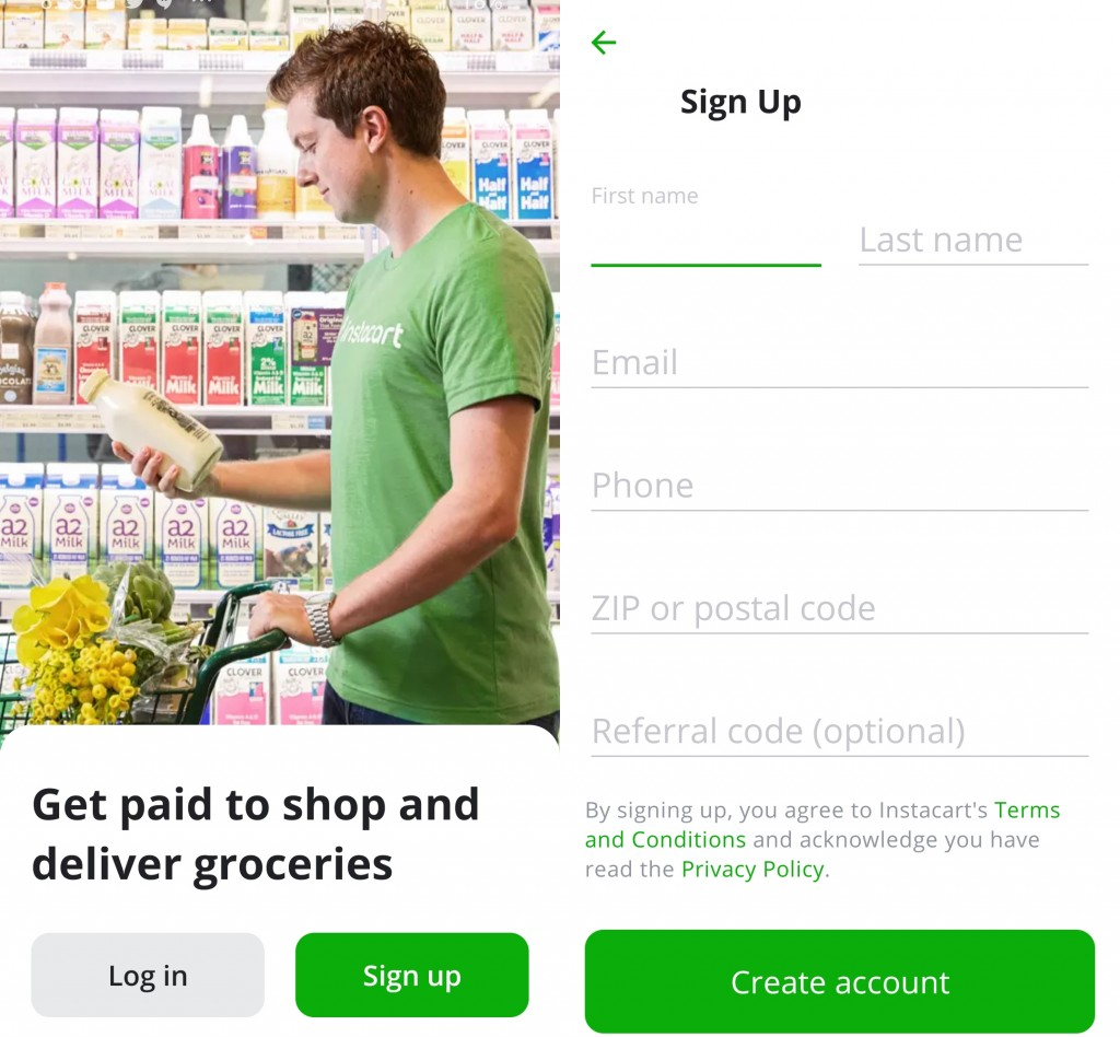 The home screen and the sign up page of the Shopper app